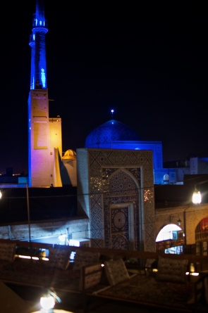 Jamee Moschee bei Nacht