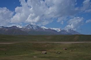 mächtige Berge hinter der kirgisischen Steppenlandschaft