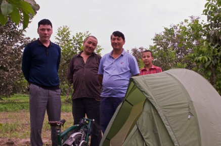 erhalte Besuch am Zelt